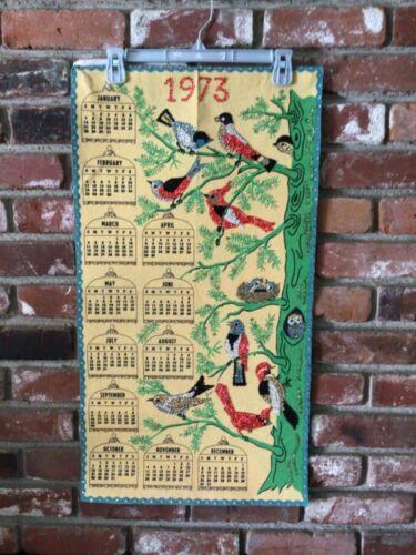 Vintage 1973 Handmade Wall Hanging Calendar Seqiuns Birds Beautiful EUC 30x16.5