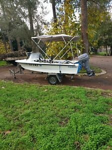 4 metre runabout 30hp johnson on 2 wheel trailer