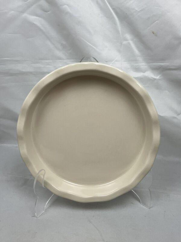 "Longaberger Pottery 9"" Pie Tart Quiche Dish Ivory Woven Traditions EUC"
