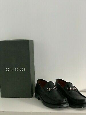 Women's Vintage Black Leather Gucci Loafers with Gold Hardware (US Size 8.5)