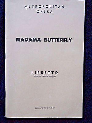 Vintage 1954 Metropolitan Opera Madama Butterfly Libretto Program