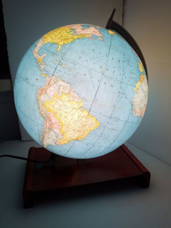 """Antique Vintage 1940s Lighted Glass Rand McNally Terrestrial Globe 12"""" Woodbase"""