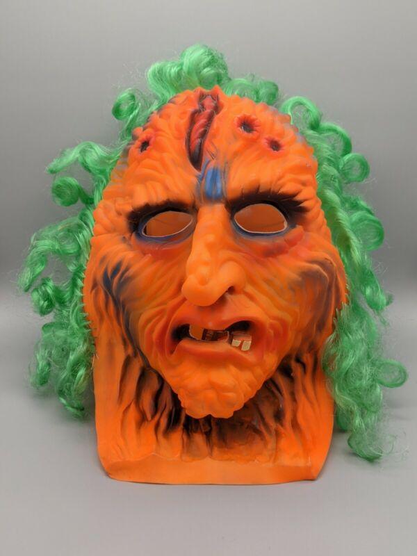Vtg 90s Fun World Orange Melting Demon Man Halloween Mask 9247 Taiwan