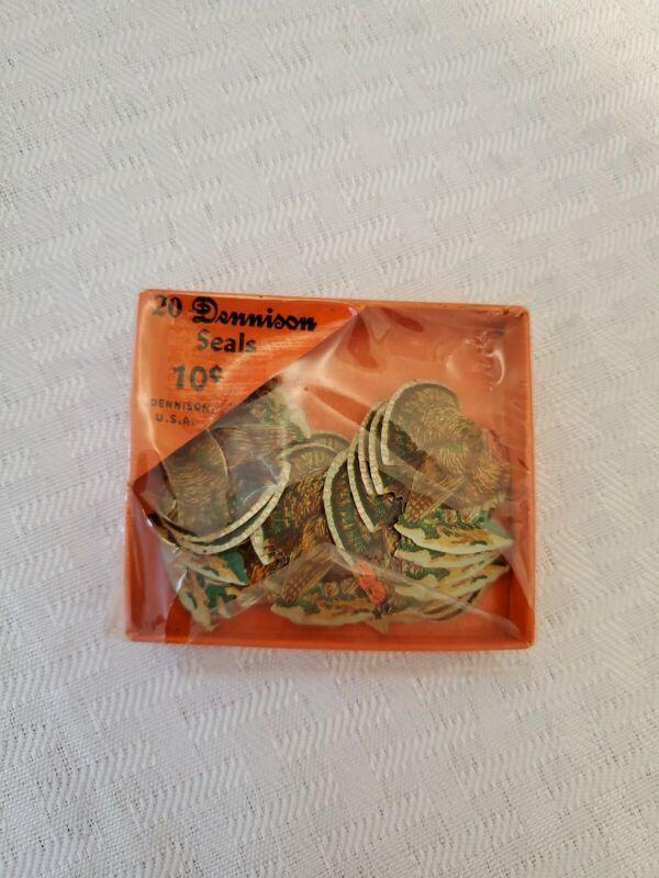 Vintage 20 Dennison Seals Turkey Thanksgiving