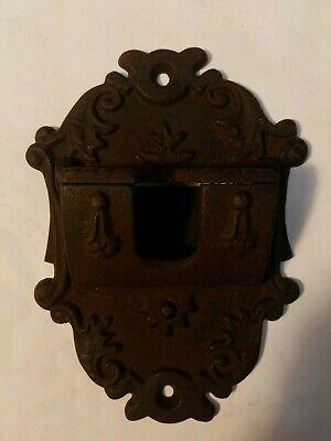 - Vintage Wilton Cast Iron MATCH HOLDER SAFE Wall Mount Hinge Lid Fireplace Hanger