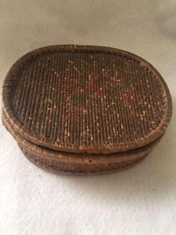 Antique Lided Woven Basket. Estate Sale Find Very Old