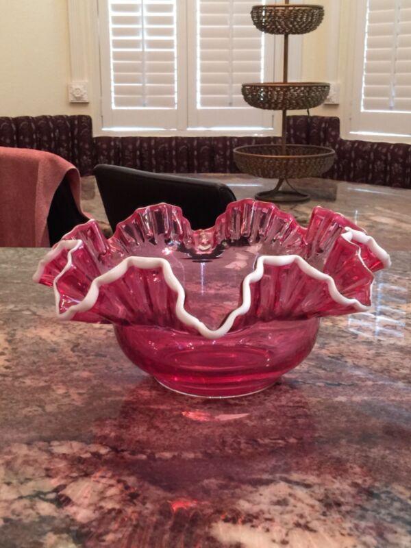 Victorian Cranberry brides basket bowl