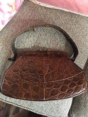 1950s Handbags, Purses, and Evening Bag Styles Vintage Crocodile Purse Clutch handbag 1950s brown Leather Inside $20.00 AT vintagedancer.com