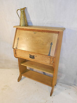 ARTS & CRAFTS OAK BUREAU BOOKCASE c1870-80 VINTAGE OAK PC DESK HALL TABLE