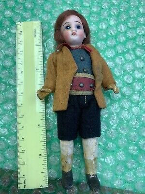 "6"" German Bisque Vintage Boy Doll Blue Glass Eyes. Composition Body Clothes German Boy Clothes"