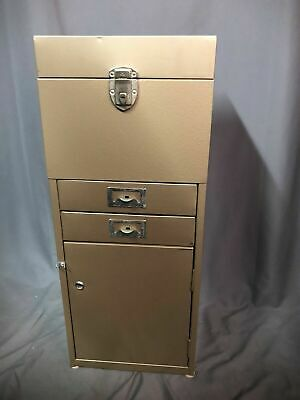 Vintage Industrial 1960s Office Metal File Storage Cabinet Card Filing Organizer