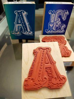Alphabet Monogram letters Wood Mounted Rubber Stamp - Make Market Letter Rubber Stamp