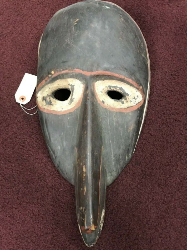 Vintage Antique African Mask Wood Carved Tribal