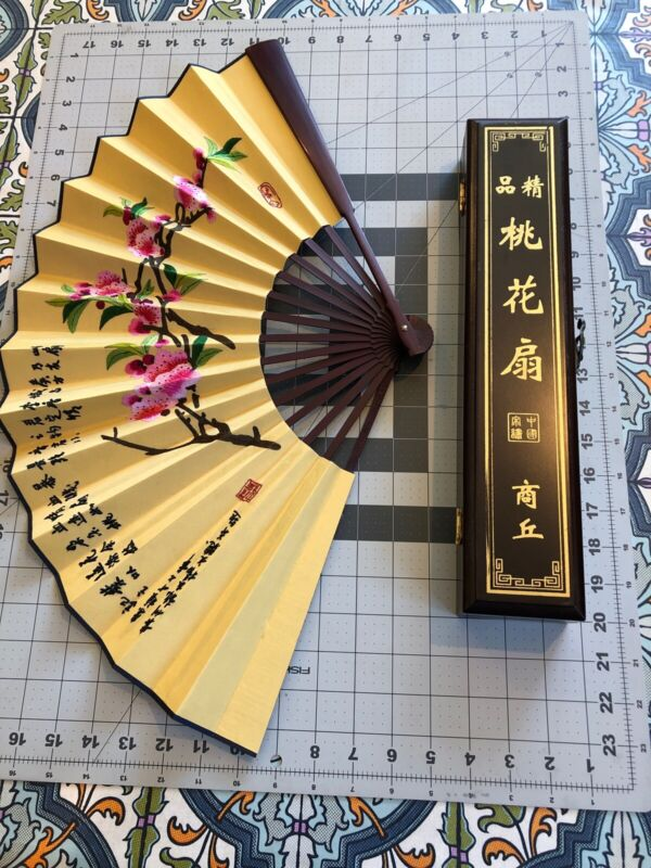 """Large 24"""" Chinese Silk Embroidered Fan Orig Lacquer Box - Peach Blossom Fan Poem"""