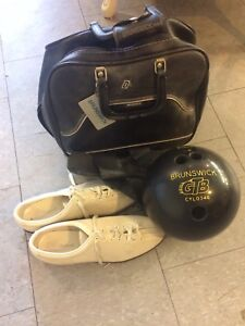 Bowling ball size 13 shoes wrist guard and bag