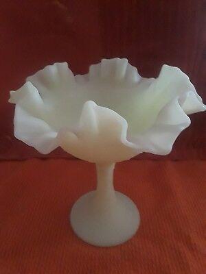 """Vintage Lime Green Fenton 6.5"""" Fluted Satin Glass Stem Basket Vase Bowl Dish"""