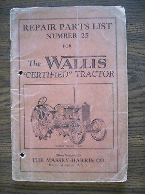 Massey Harris Wallis Certified Tractor Parts Manual
