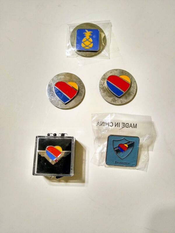 LOT of 5 SOUTHWEST AIRLINES LOGO LAPEL MAGNETIC PIN AIRPLANE Heart Pineapple LUV