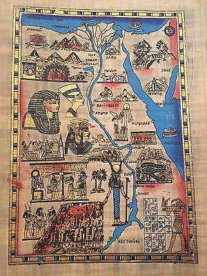 authenticate Huge Ancient Egyptian Map Handmade Painting on Papyrus .. (Ancient Egyptian Papyrus Handmade Painting)