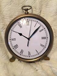 Pottery Barn Desk Table Antique Vintage Pocket Watch Clock Medium Brass finish