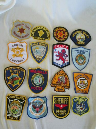 VINTAGE  LAW ENFORCEMENT, POLICE PATCHES LOT OF 16 DIFFERENT CITIES