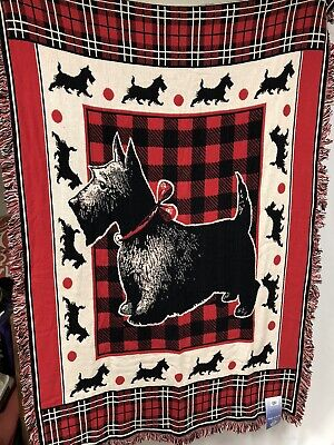 Woven Throw Blanket Tapestry Scotty Dog Scottish Terrier Made In USA New -