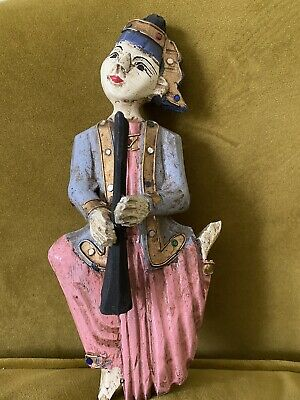 The Hand Carved Wooden Figure Of Musician From Thailand