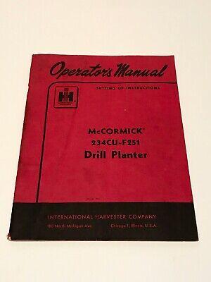 1956 International Harvester Mccormick 234cu-f251 Drill Planter Manual Farmall