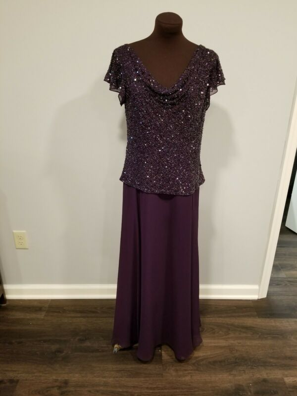 J Kara Plum Beaded Formal Gown 12P