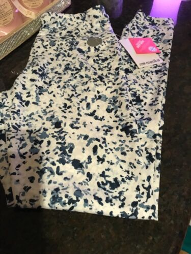 "Marika Women Leggings, Spotted Floral(white/blue), M, Hi-waist, Nwt, 27"" Inseam"