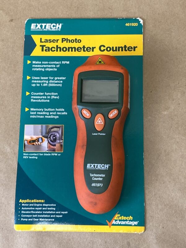 Extech 461920 Mini Laser Photo Tachometer Counter RPM Revolution