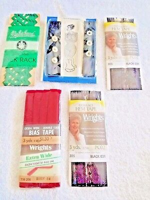 FLEXI-LACE HEM TAPE WRIGHTS BLACK (LOT OF 5) RICK RACK GREEN BIAS TAPE RED SNAPS for sale  Shipping to India
