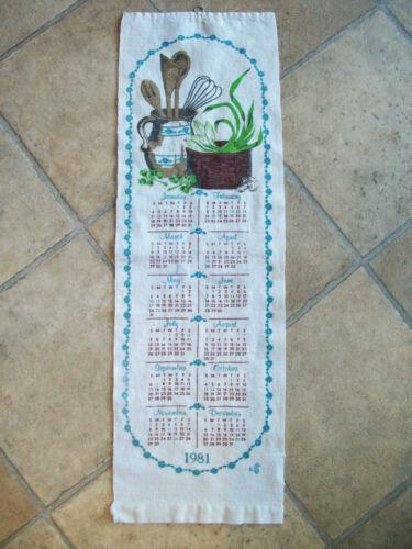 1981 Calendar Kitchen Towel Wall Hanging 7 X 24 cotton linen