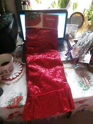 """Sandra Lee Merry Holiday Red with Velvet Scrolls Like Christmas Tree Skirt 52"""""""