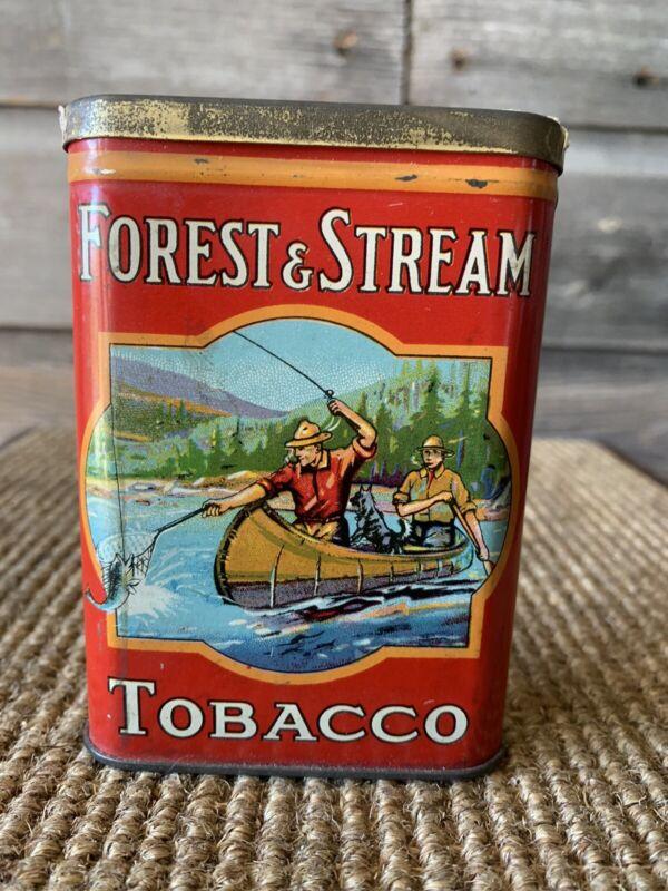 Vintage Forest And Stream Tobacco Tin Pocket Tin Rare Tobacco Tin Empty Tin