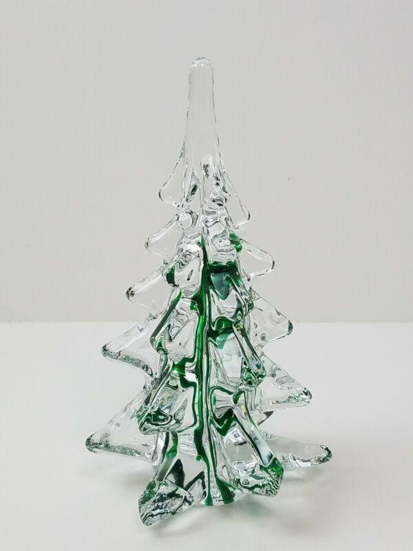 "Vtg Murano? Art Glass Christmas Tree Green Swirl 6"" Paperweight Holiday Decor"