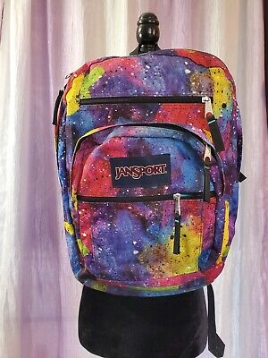 🌈 Rare JANSPORT 5 Pocket Galaxy Universe Rainbow Big Student Colorful Backpack