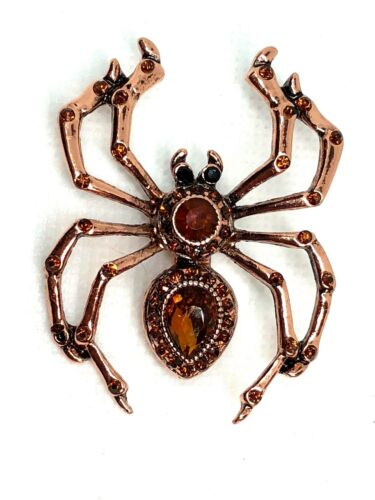 "Halloween spider Brooch pin Brown & gold  rhinestones 2 ""x2"" copper tone #9"