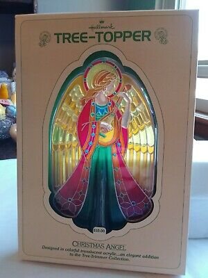 Hallmark Tree Topper 1979 Christmas Angel Colorful Translucent Acrylic NIB