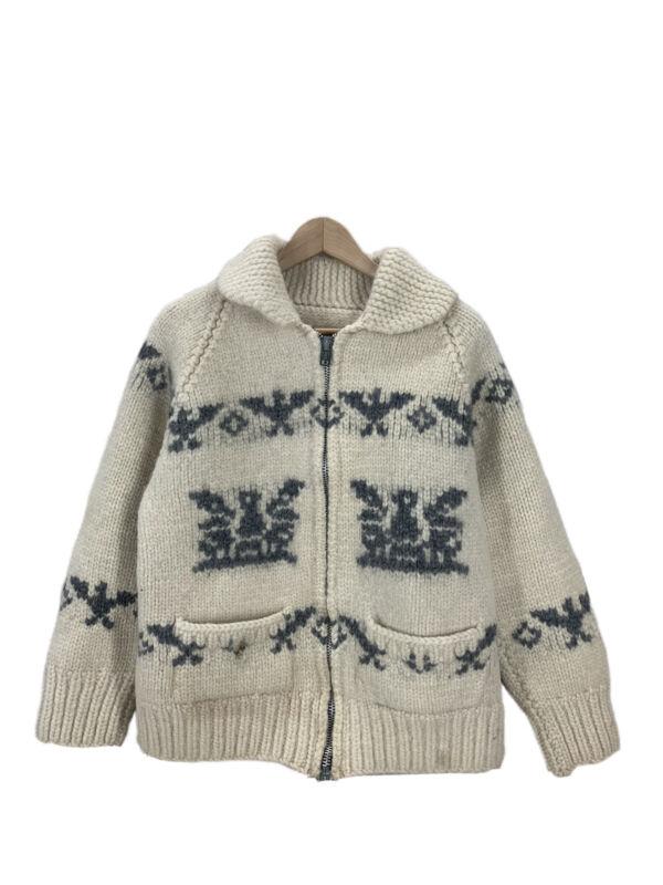 Vintage Thunderbird Print Wool Shawl Collar Cowichan Sweater Women's M