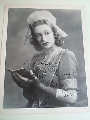 Vintage Printed Photograph Actress  JULIA BRETTON Personal Inscription SIGNED