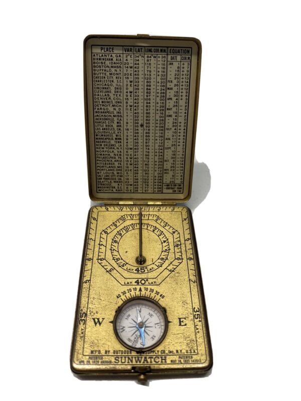 RARE Vintage 1921 ANSONIA Sunwatch Sundial Compass Brass Pocket Watch