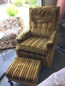 Reclining chair with matching foot stool