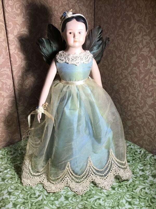 Porcelain Doll Topper Angel Girl Feather Wings Irridescent Ecru Dress