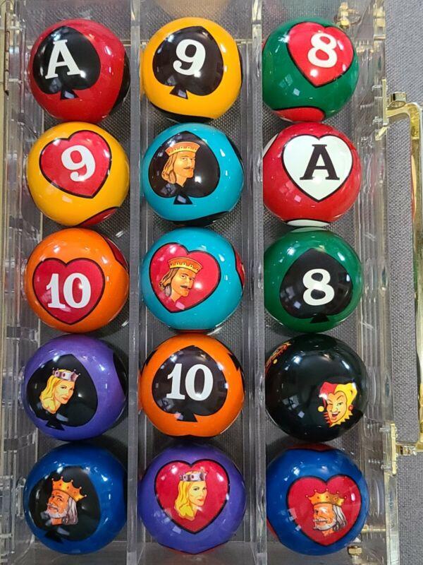 Crown Games Poker Pool Billiard Ball Complete Set Rare HTF Card Suit