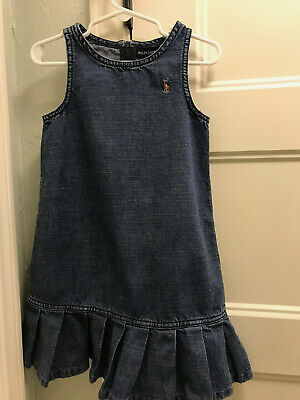 Ralph Lauren Blue Denim Jumper Dress Girls Sz 4/4T VGUC Pony Logo