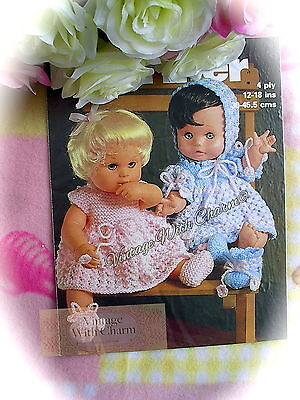 Vintage Dolls Clothes Knitting Pattern 2 Sets Of Fabulous Dolls Clothes To Knit