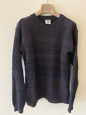 S.N.S SNS Herning Purple Nlack Bubble Knit Fisherman Crewneck Sweater Size Large