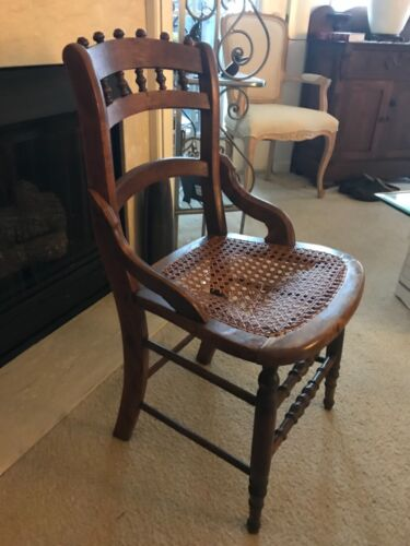 """Antique Victorian Hand Carved Oak Wood & Cane """"CHAIR"""" Art Deco Rattan Seat 1900s"""