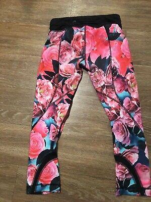 Lululemon Run Inspire Crop II Leggings Secret Garden Pink Black Roses RARE SZ 2